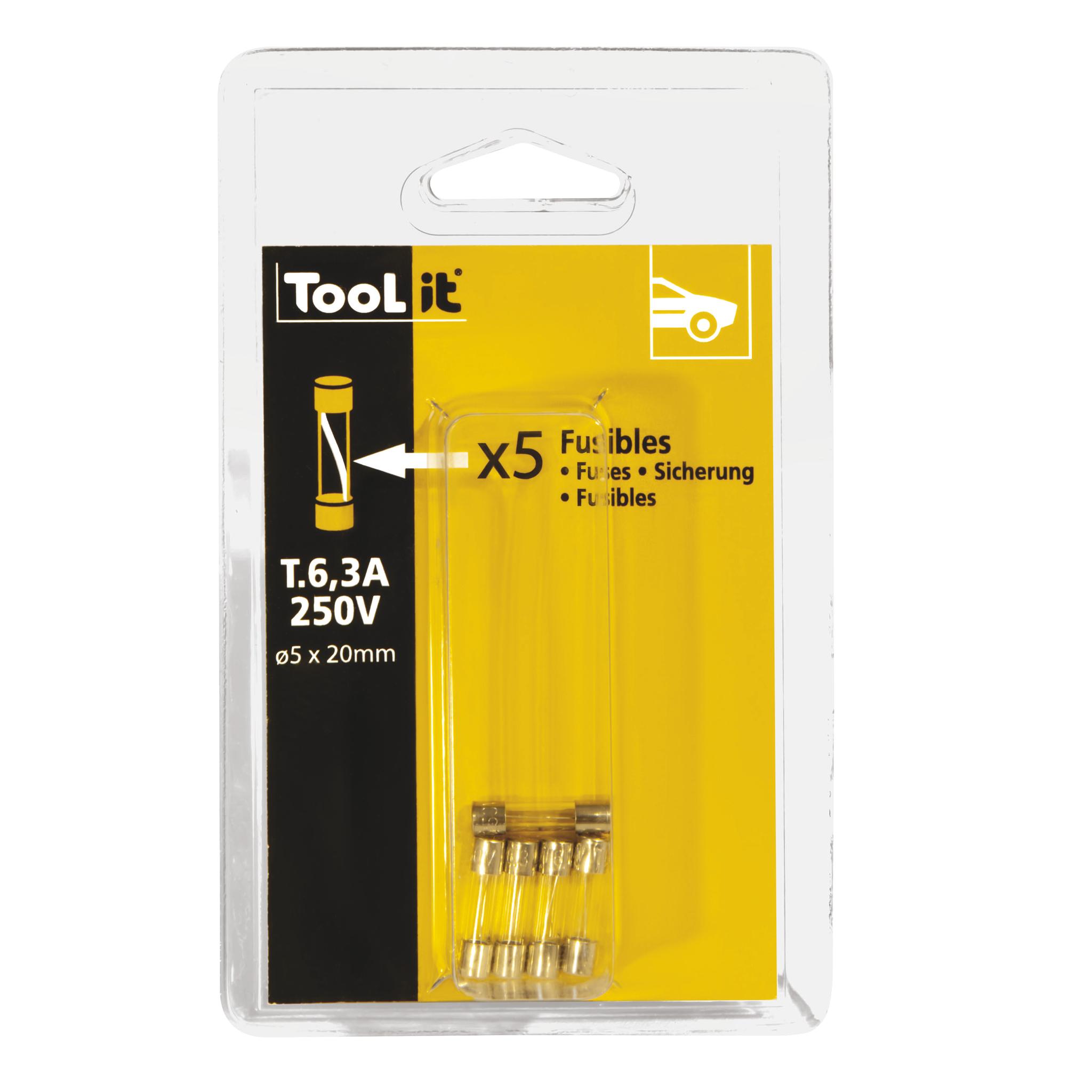 GYS 5 Sicherungen 6,3 A 250 V träger 5 x 20 mm für Batterieladegeräten - Blister 054578