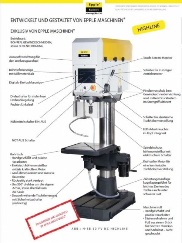 Epple Säulenbohrmaschine H-SB 60 NC HIGHLINE mit Touchscreen zur Steuerung 1104060