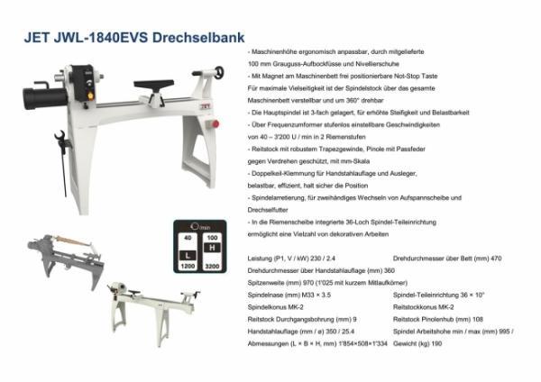 JET JWL-1840EVS-M  Drechselbank
